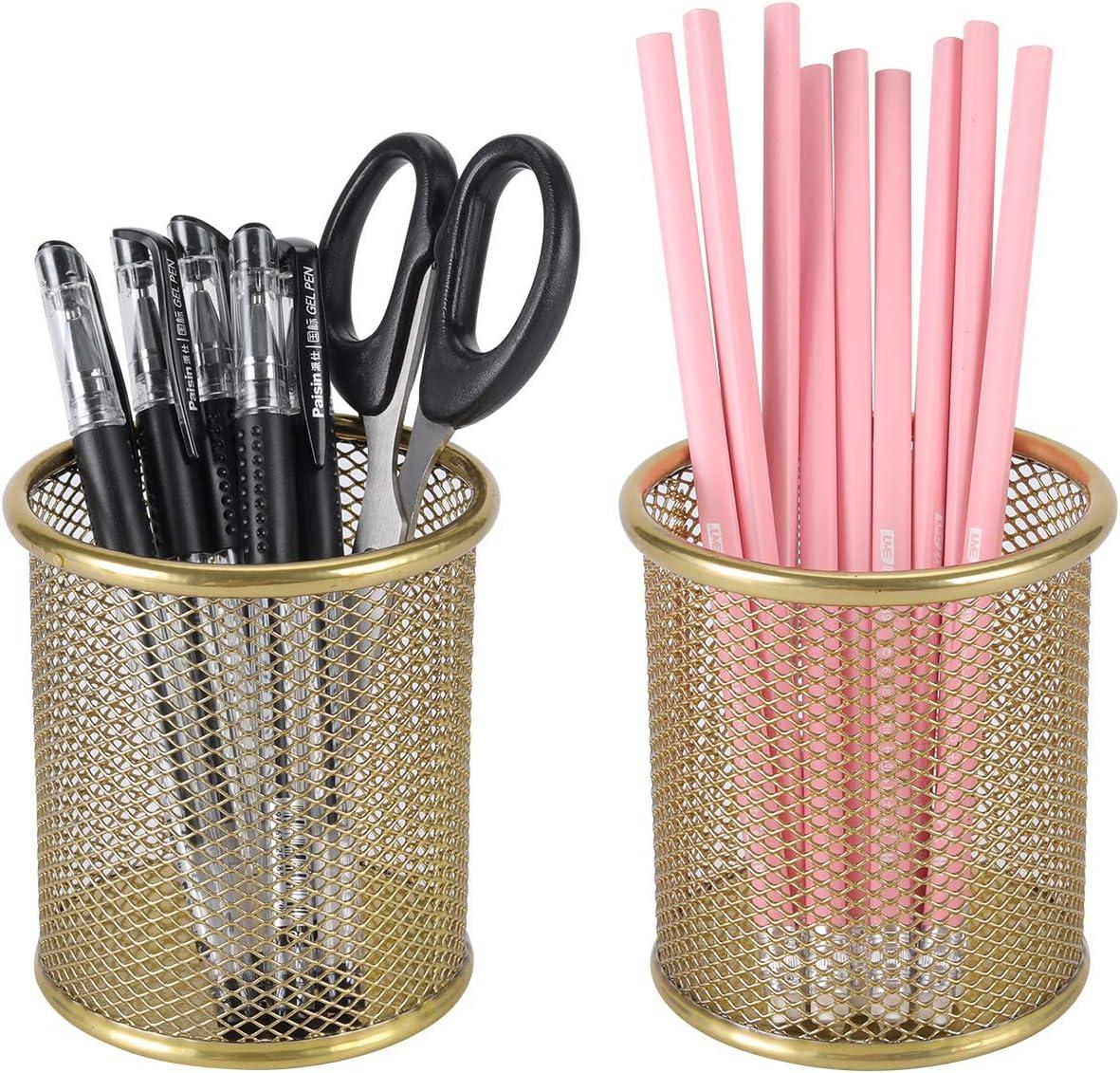 PAG 2 Pack Pencil Holder Pen Cup Office Supplies Desktop Organizer Makeup Brush Holder for Desk, Gold
