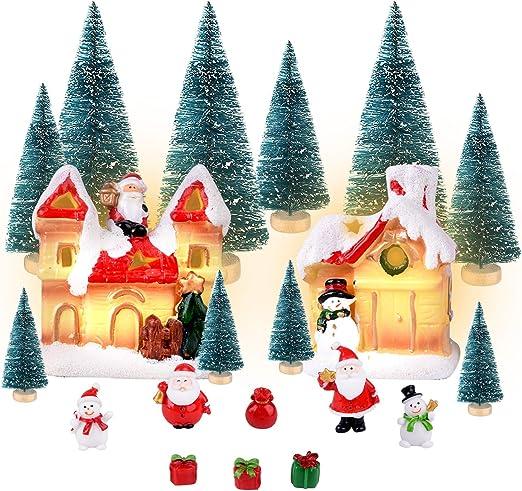 KUUQA 20Pcs Navidad Village Accessories Set, Mini Navidad Village ...