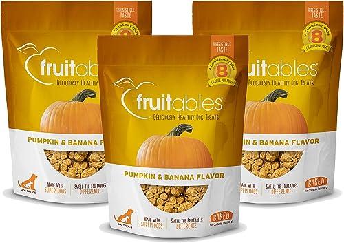 Fruitables Baked Dog Treats Pumpkin Banana Flavor 3 Pack 7 oz Each