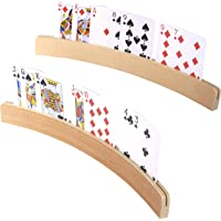 Silly Goose Games Curved Wooden Card Holders for Playing Cards, Playing Card Holder for All Ages - Natural Finish; 14…