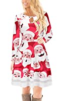 ECOWISH Womens Christmas Santa Claus Long Sleeve Floral Print Flared Skater Cocktail Dress