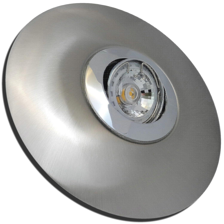 5 Stück MCOB LED Einbaustrahler Big Linus 230 Volt 3 Watt Schwenkbar Chrom + Edelstahl geb.   Neutralweiß