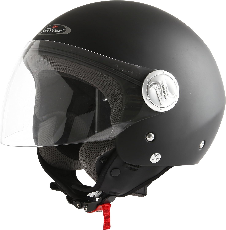 S Gr/ö/ße 55-56 Scotland Helm Motorrad//Scooter mit einer Langen Visier Schwarz Matt