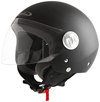 Scotland Casco Moto/Scooter con Visera Larga, Negro Mate, 57-58 (
