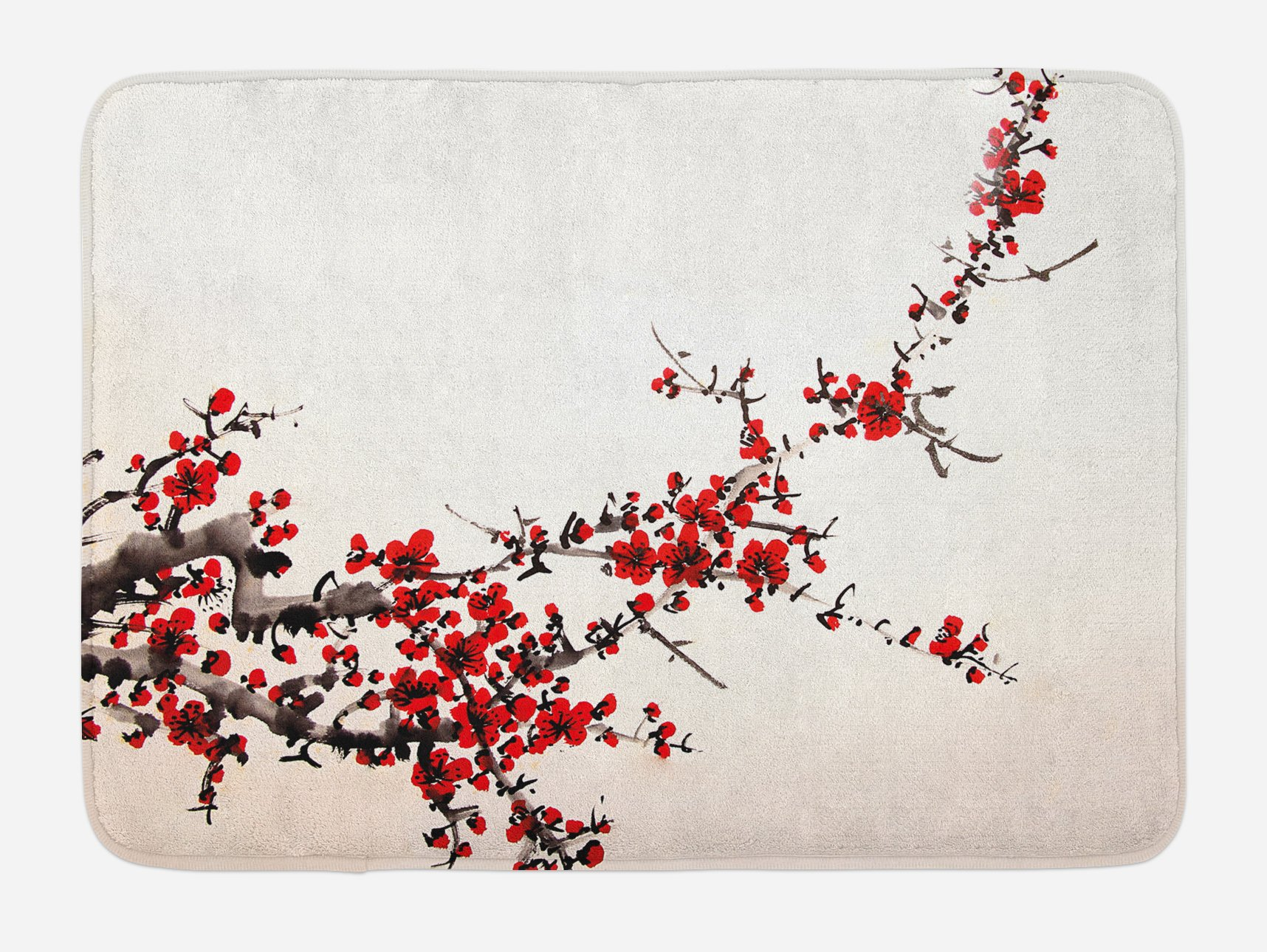 Ambesonne Art Bath Mat, Cherry Blossom Sakura Tree Branches Ink Paint Stylized Japanese Artful Pattern, Plush Bathroom Decor Mat with Non Slip Backing, 29.5 W X 17.5 W Inches, Red Cream