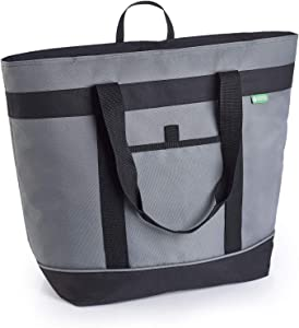 Jumbo Insulated Cooler Bag (Gray) with HD Thermal Foam Insulation. Premium Quality Soft Sided Cooler Makes a Perfect Insulated Grocery Bag, Food Delivery Bag, Travel Cooler, or Picnic Cooler.