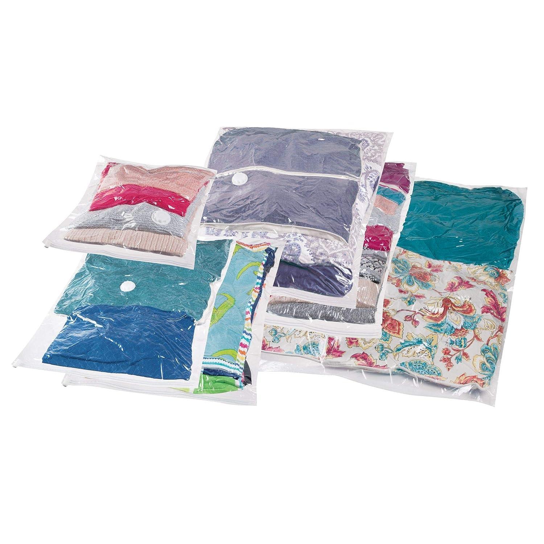 mDesign Juego de 6 bolsas al vacío para ropa, varios tamaños – Bolsas para guardar ropa al vacío en armarios, cajones y cómodas – Bolsas ahorra espacio de plástico y de uso sencillo – transparente