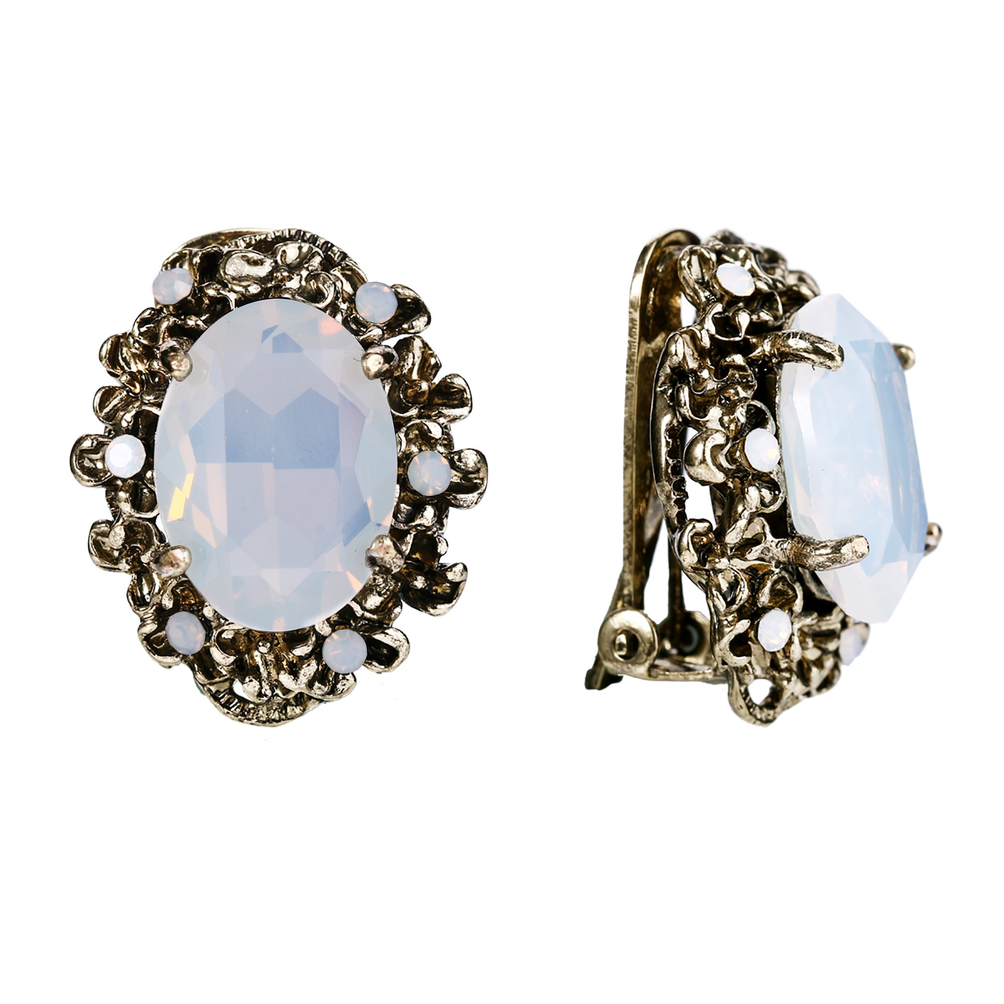BriLove Antique-Gold-Toned Clip-On Earrings Women's Victorian Style Crystal Floral Cameo Inspired Oval Earrings Opal Color