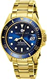 "Henry Jay Mens 23K Gold Plated Stainless Steel ""Specialty Aquamaster "" Professional Dive Watch"