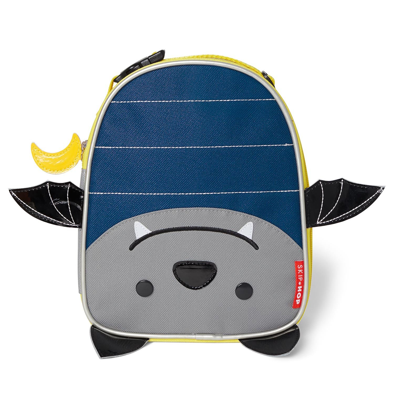 Skip Hop Zoo Kids Insulated Lunch Box, Bailey Bat, 9''x3.25''x7.5'', Blue