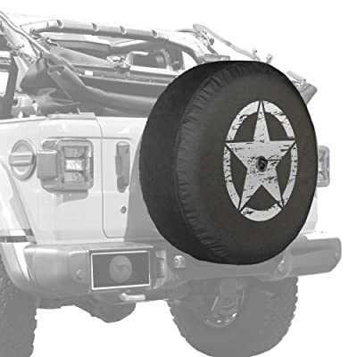 "Boomerang - 32"" Soft JL Tire Cover for Jeep Wrangler JL (with Back-up Camera) - Sport & Sahara (2020-2020) - Distressed Star - Silver Print - Made in The USA: Automotive [5Bkhe0918289]"