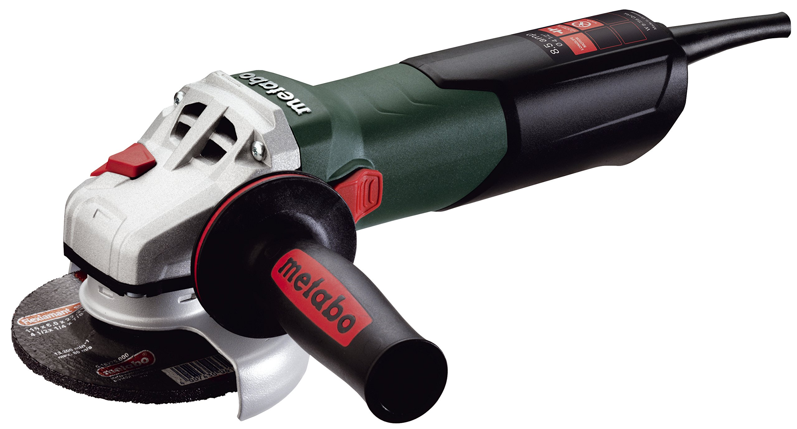 Metabo W9-115 Quick 8.5 Amp 10,500 rpm Angle Grinder with Lock-On Sliding Switch, 4-1/2''