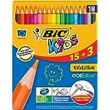 BIC Kids Evolution ECOlutions  Crayons de Couleur - Boîte Métallique de 15+3