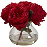 Nearly Natural 1391-RD Fancy Rose with Vase, Red