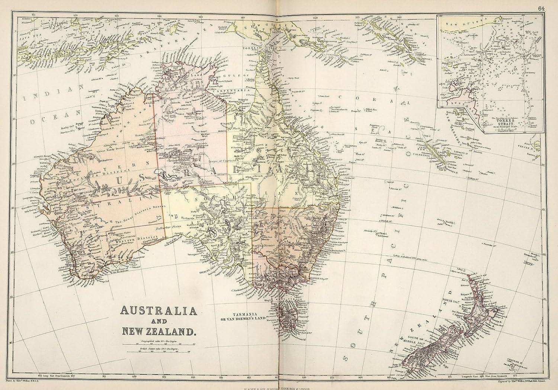 New Zealand Map Australia.Amazon Com Historic Map World Atlas Map Australia And New