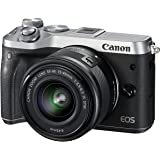 Canon EOS M6 Single Kit with EF-M 15-45mm IS STM Compact System Camera(M6KISS) 3 Inch Display,Silver