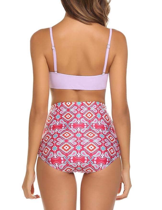 558013287d267 Amazon.com: Avidlove Women's Retro Bikini Set Ruffled Push up Top High  Waisted Bikini Bottom Swimsuit: Clothing