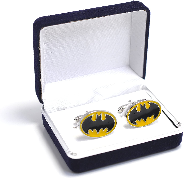 Terciopelo azul - Caja de Batman amarillo y negro de la bate Logo - Gemelos para hombres: Amazon.es: Joyería
