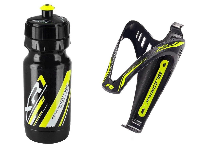 RaceOne.it - KIT Fluo Race - 2 PCS - Bidon avec Porte-bidon de Vélo. Bouteille d'eau avec support pour Cyclisme VTT/ Vélo de Route / MTB / Gravel Bike. Bottle XR1 + Bottle Cage X3 /600 CC. Coleur: Jaune Fluo - 100% MADE IN ITALY RaceOne Srl