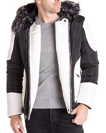 403a3c2274f4 BLZ Jeans - Blouson Noir Blanc avec Capuche Fourrure Noire et Grise stylé pour  Homme -