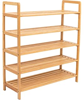 BirdRock Home Free Standing Bamboo Shoe Rack | 5 Tier | Wood | Closets And  Entryway