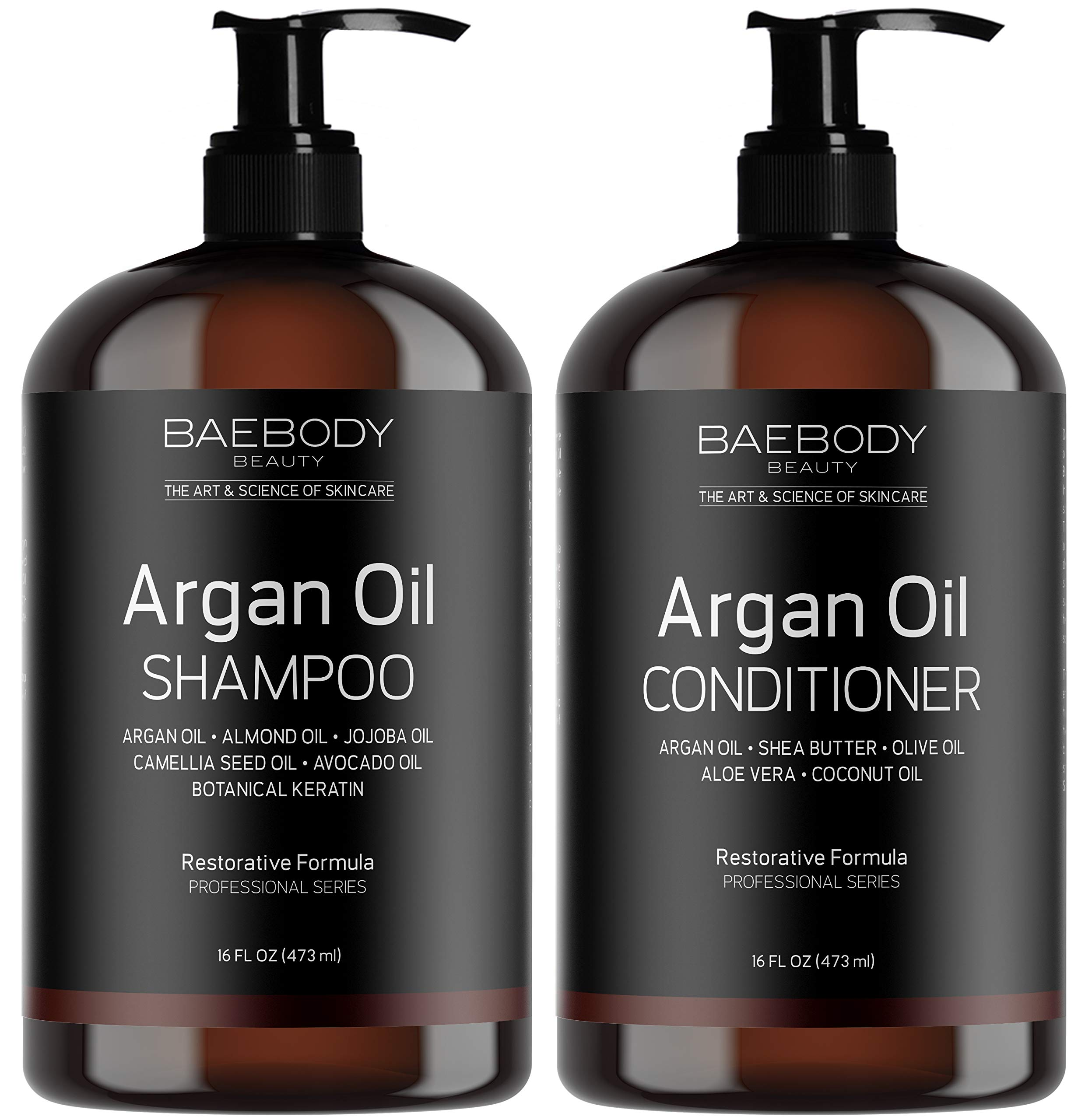 Moroccan Argan Oil Shampoo & Conditioner Set 16 Oz – Volumizing & Moisturizing, Gentle on Curly & Color Treated Hair, for Men & Women. Infused with Keratin.