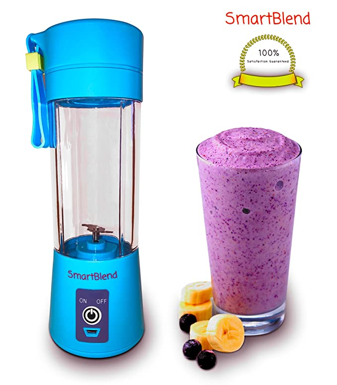 SmartBlend - Portable Electric Juicer - USB Juicer Cup - Rechargeable Mixer - Electric Charger Cable Included - 380ml - Travel Size Fruit Mixing Machine