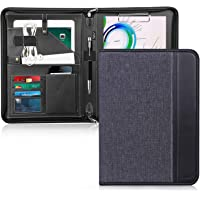 Toplive Zippered Padfolio Portfolio Case,Executive Business Conference Folder Document Organizer with Letter/A4 Size Clipboard, Business Card Holder, Black