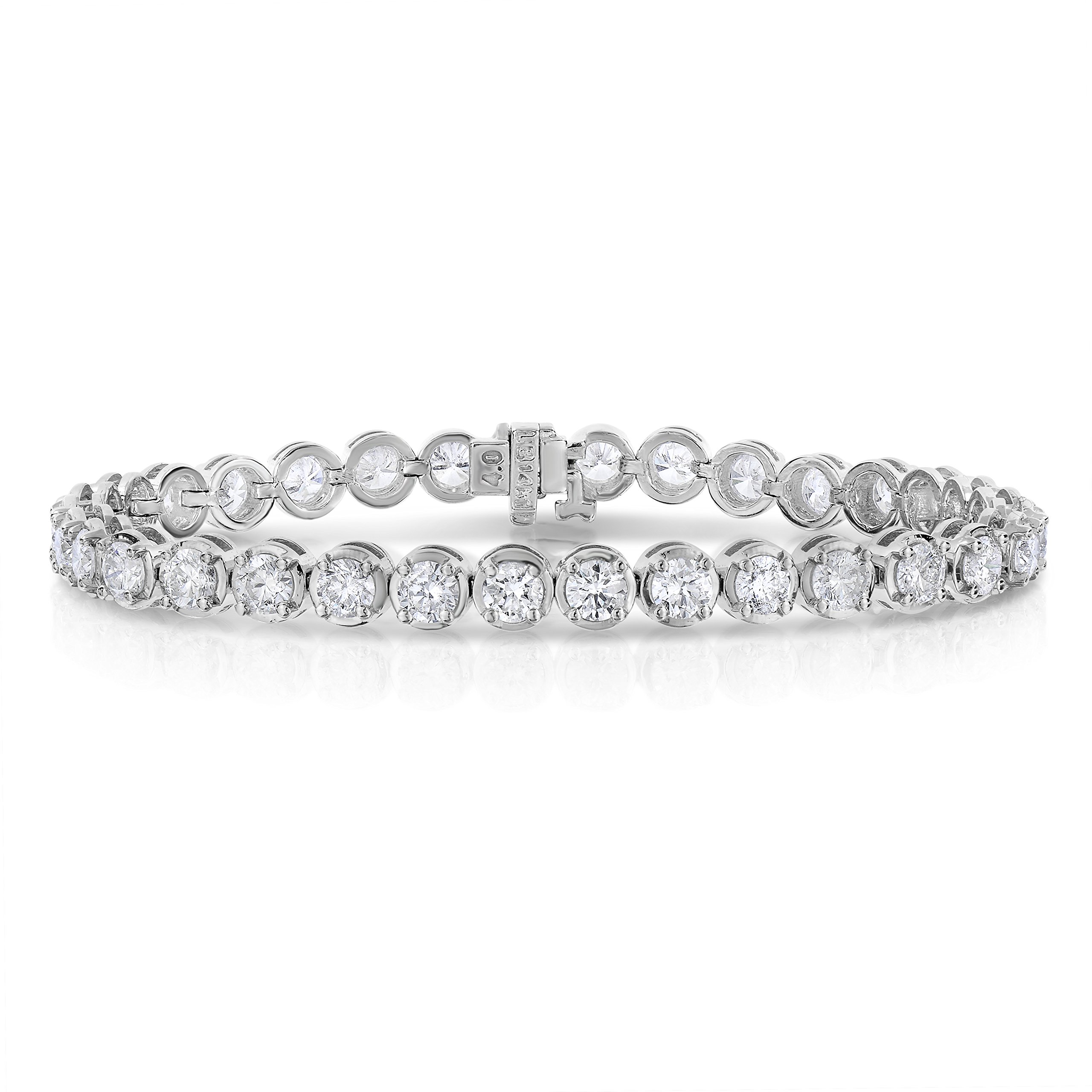 8 CT I1-I2 IGI Certified Diamond Bracelet Tennis 14K White Gold (H-I)