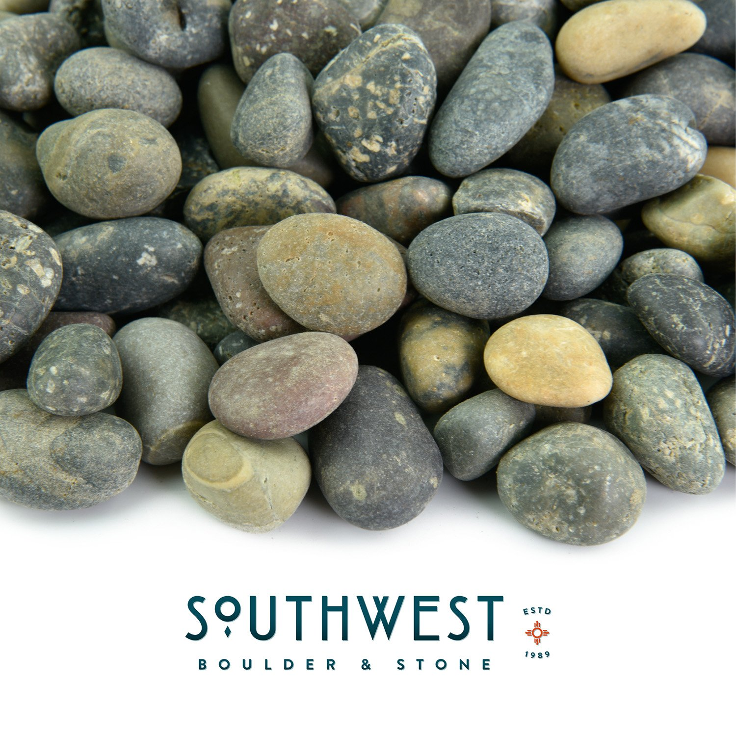 Mexican Beach Pebbles | 2000 Pounds of Smooth Unpolished Stones | Hand-Picked, Premium Pebbles for Garden and Landscape Design | Mixed, 3/8 Inch - 5/8 Inch