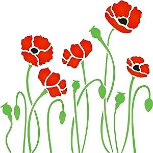 Poppy Field Stencil, 6.5 x 6.5 inch (S) - Bloom Flora Flower Border Stencils