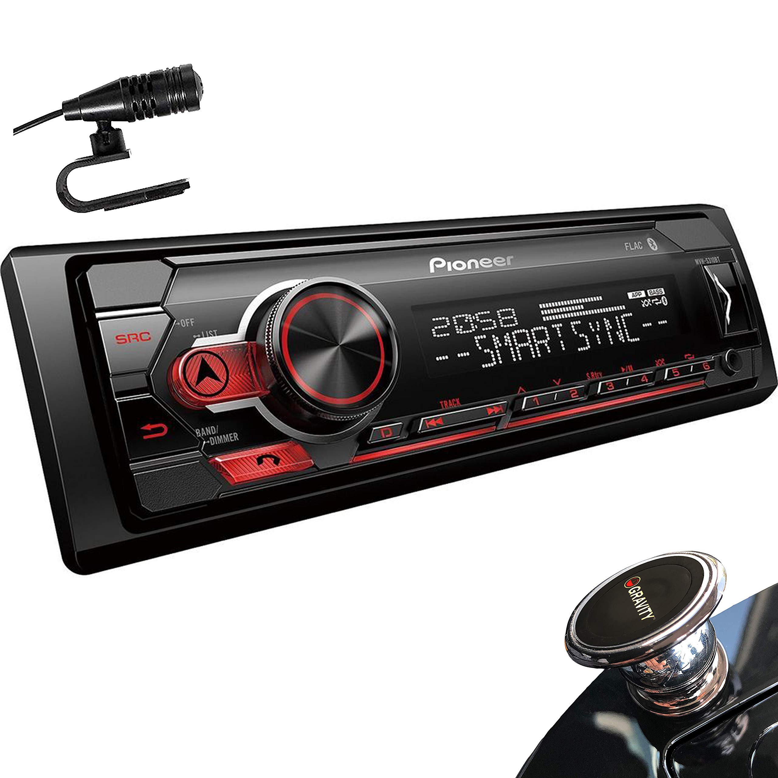 Pioneer MVH-S310BT Digital Media Receiver with Smart Sync App Compatibility, MIXTRAX, Built-in Bluetooth + Gravity Phone Holder by PIONEER