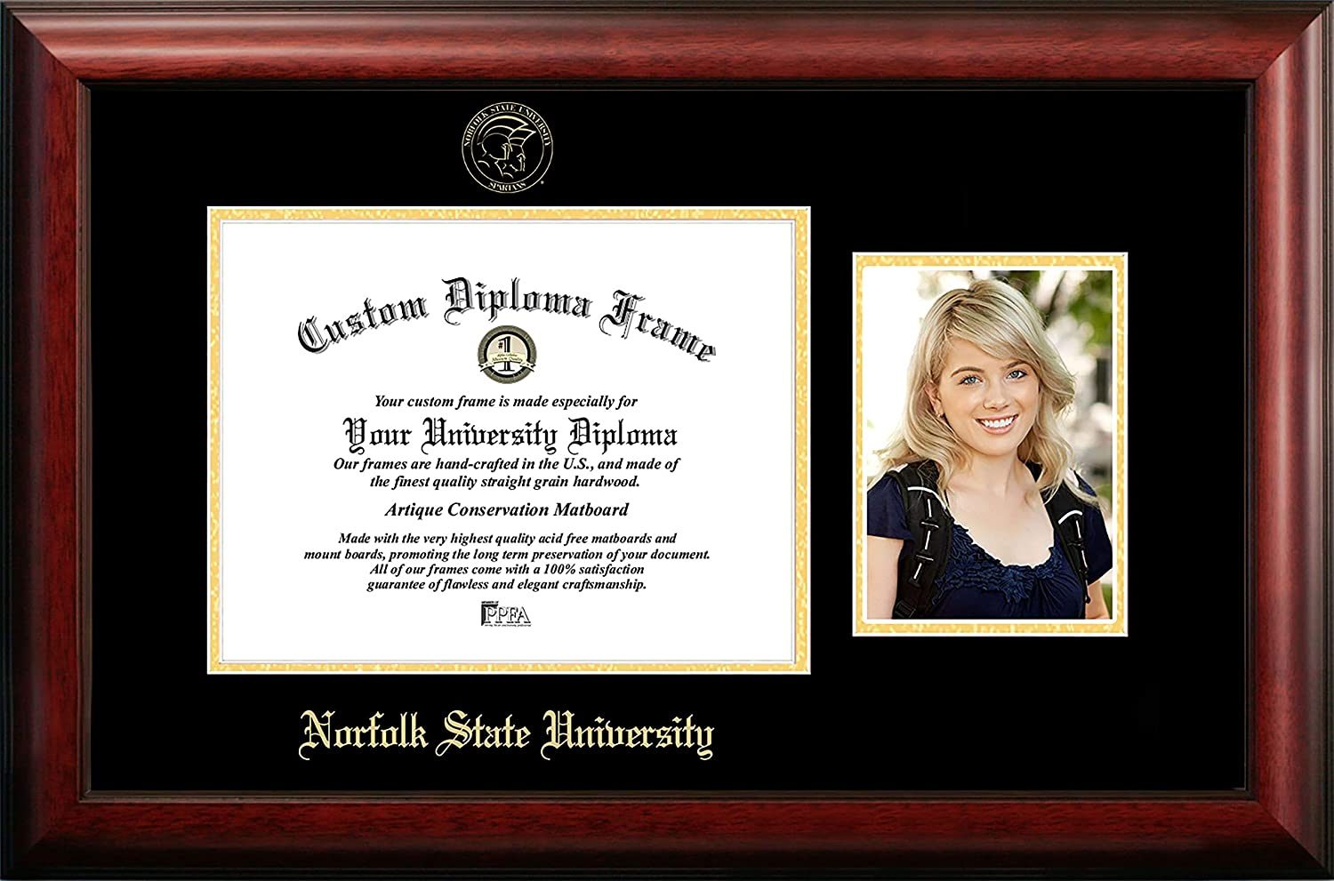 NCAA Norfolk State Spartans Unisex Norfolk State 11 x 8.5 Inches Gold Embossed Diploma Frame with 5 x 7 Inches Portrait Gold Embossed Diploma Frame with 5 x 7 Inches Portrait Brown One Size