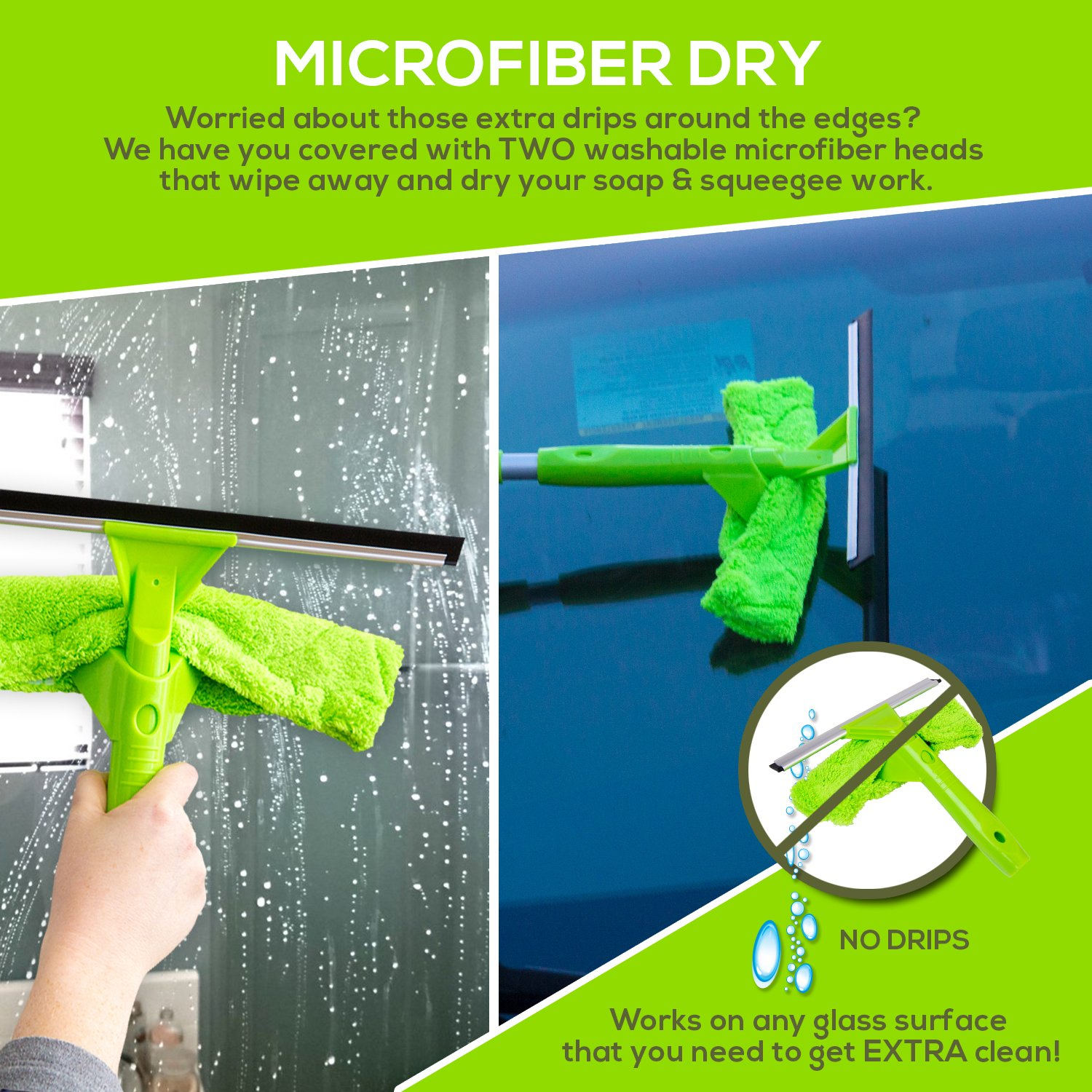 NeverEnding Reach Squeegee Window Cleaner Kit | Shower Squeegee, High Window Cleaning Tools, Car Windshield Tool and Doors - Indoor / Outdoor Washing Equipment with Extension Pole and 4 Washer Heads by Modern Domus (Image #9)