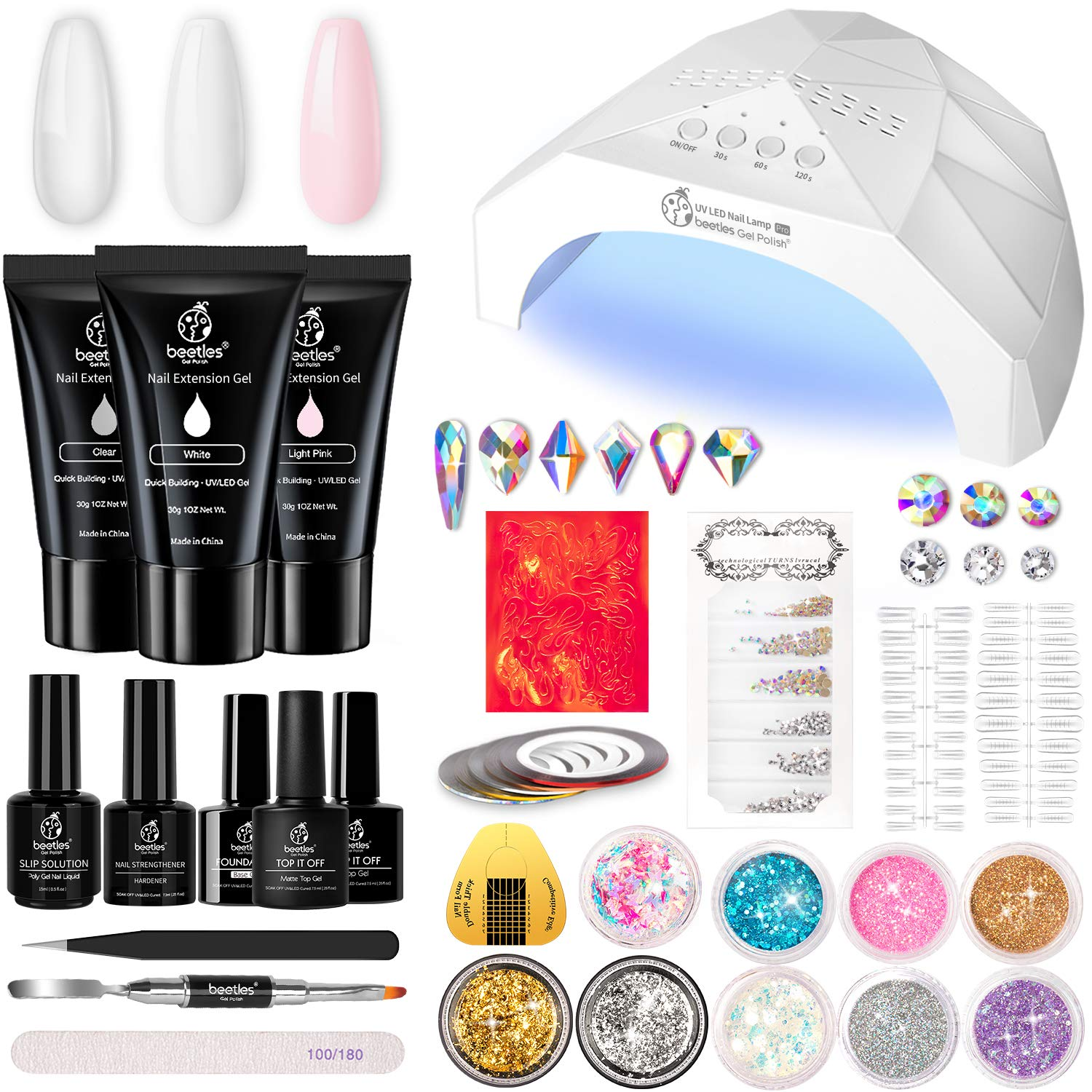 Beetles Poly Gel Extension Nail Kit, 3 Colors Nail Extension Gel with 48W Nail Lamp Slip Solution Nail Strengthener Rhinestone Glitter All In One for Nail Manicure Beginner Starter Kit