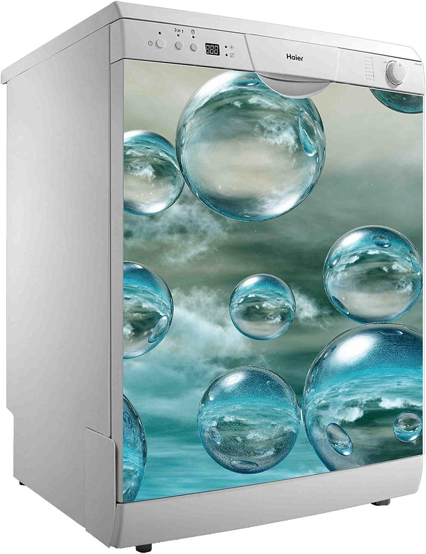 Vinilo para Lavavajillas Burbujas de Agua | Varias Medidas 50x48cm | Adhesivo Resistente y de Fácil Aplicación | Pegatina Adhesiva Decorativa de Diseño Elegante