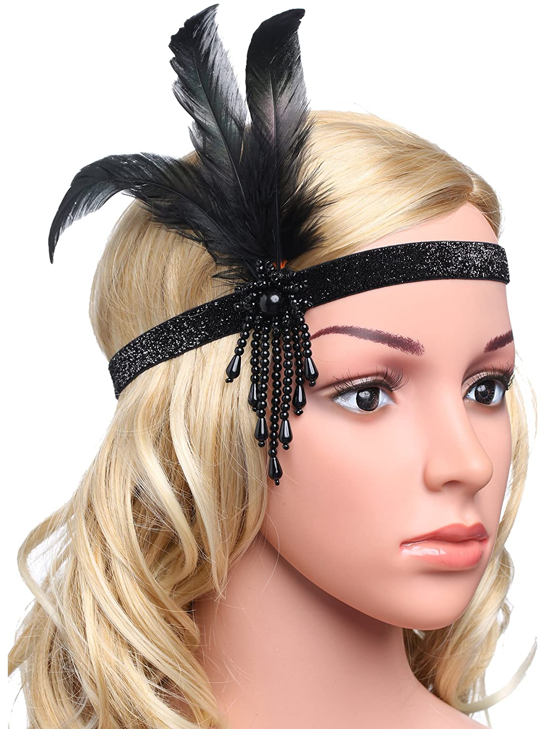 ArtiDeco 1920s Flapper Feather Headpiece Vintage 1920s Headband Beaded Flapper Headpiece Great Gatsby Costume Accessories