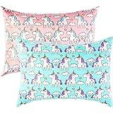 IBraFashion Toddler Pillowcases for Girls Unicorn Pillowcases 14x19 For 13x18, 12x16 Pillow 100% Cotton Cute Princess Unicorn Printings Set of 2