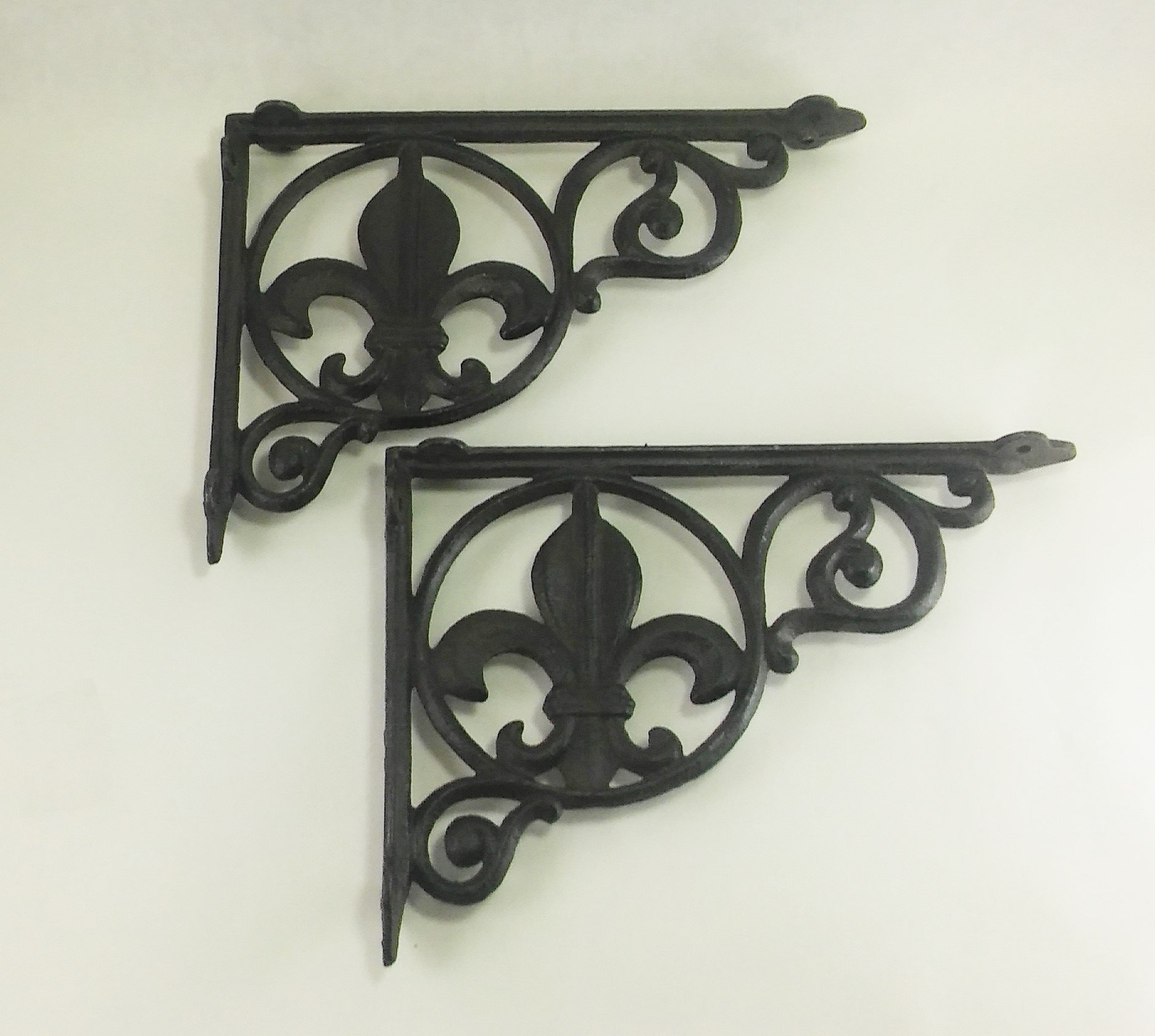 Aunt Chris' Products - Lot/Set of 2 - Heavy Cast Iron - Fluer-De-Lis Shelf Bracket - All-Purpose - Rustic Dark Bronze Color Finish - Can Be Used Indoor Or Outdoor by dist by American mud products