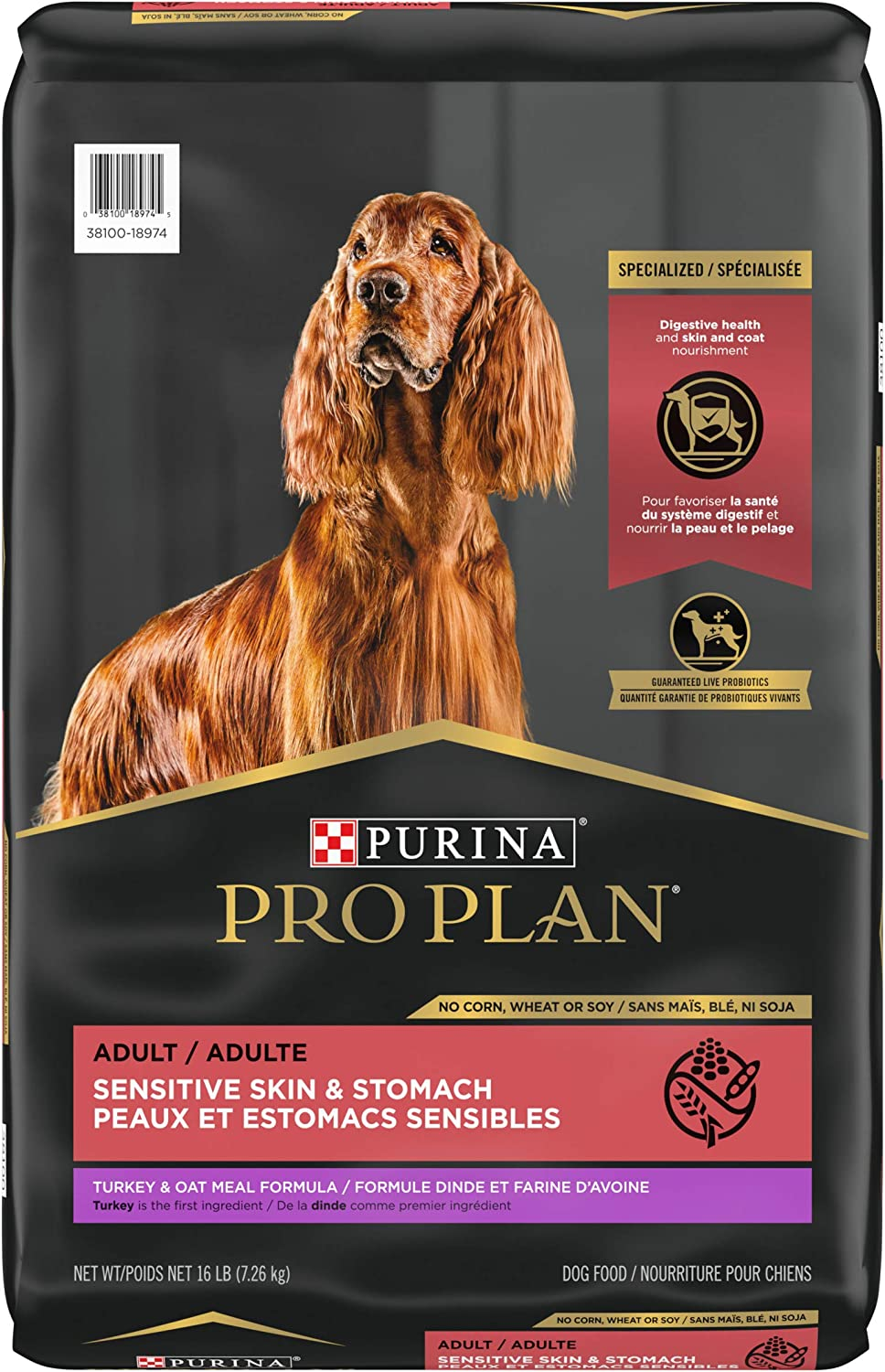Purina Pro Plan Sensitive Skin and Stomach Dog Food with Probiotics for Dogs, Turkey & Oat Meal Formula - 16 lb. Bag