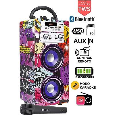 DYNASONIC - Altavoz Bluetooth Portátil con Karaoke | Radio FM y Lector USB SD (Modelo 12)