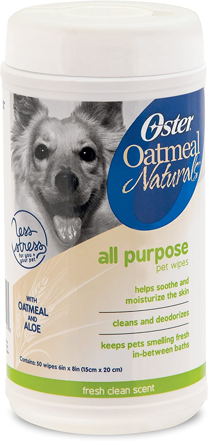 Oster Oatmeal Naturals All-Purpose Pet Wipes, Fresh Clean, 50 Count (078199-017-000)