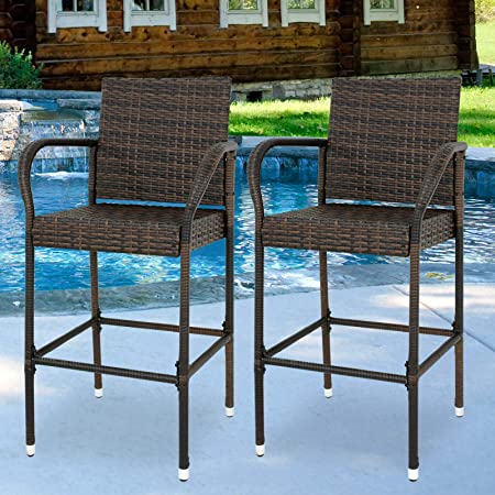 Amazon Com Zeny Set Of 2 Wicker Barstool All Weather Dining Chairs Outdoor Patio Furniture Wicker Chairs Bar Stool With Armrest Garden Outdoor