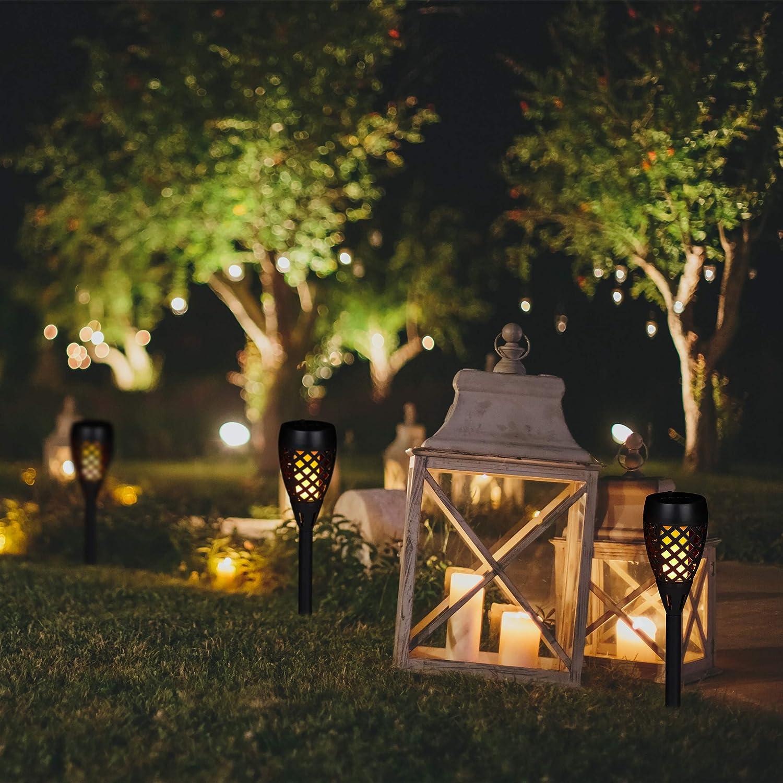 tanzende Flamme mit Erdspie/ßen Relaxdays 10 x Gartenfackel Solar LED Fackeln schwarz Au/ßenbeleuchtung f/ür Garten H: 78 cm