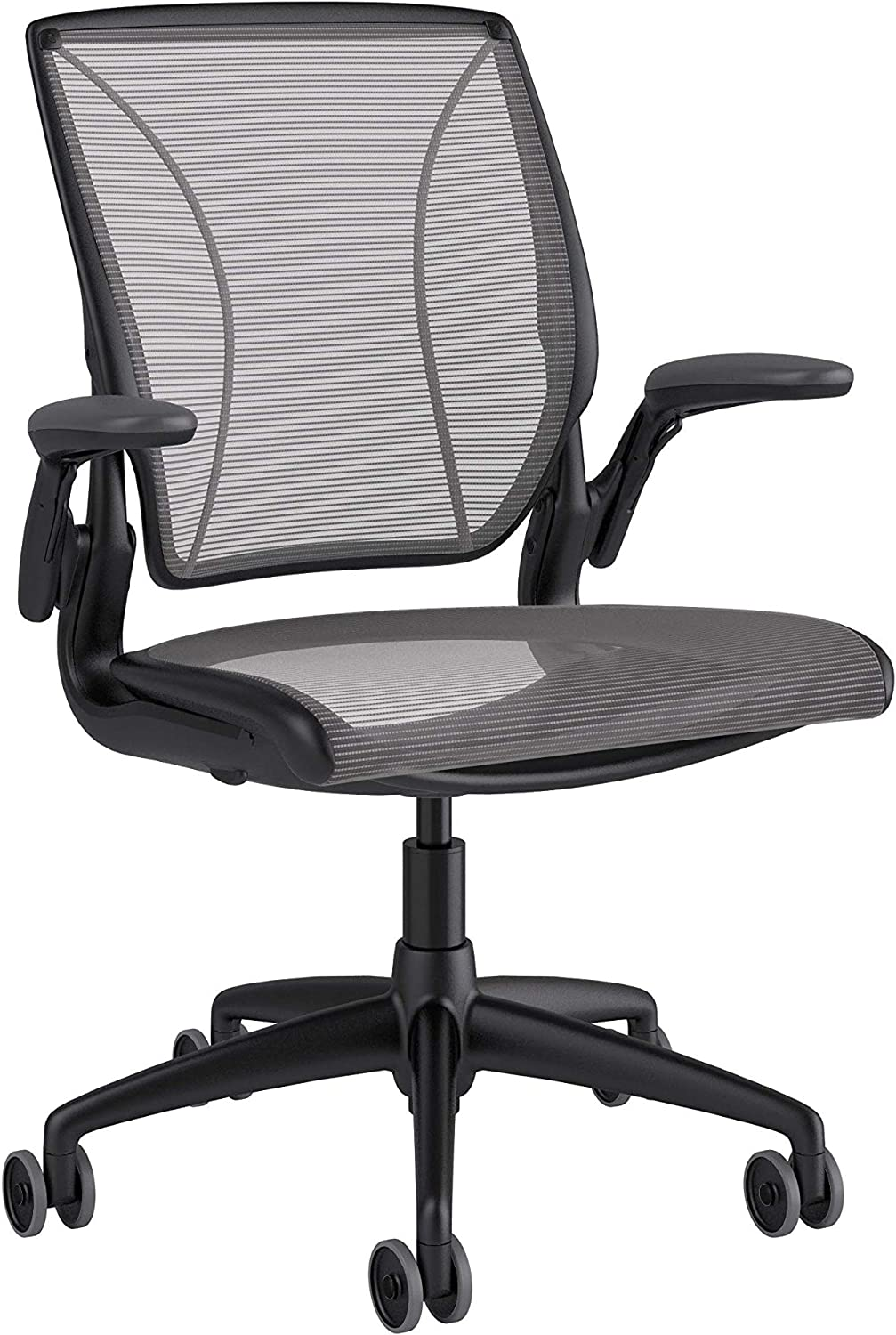 Humanscale Diffrient World Office Task Desk Chair - Adjustable Duron Arms - Black Frame Silver Pinstripe Back and Seat Mesh W11BN02N02-S - Soft Hard Floor Casters
