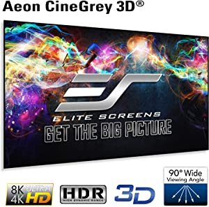 Elite Screens Edge Free Ambient Light Rejecting Fixed Frame Projection Projector Screen,Aeon CineGrey 3D Series, 110-inch 16:9 for Home Theater, Movie and Office Presentations AR110DHD3, Black