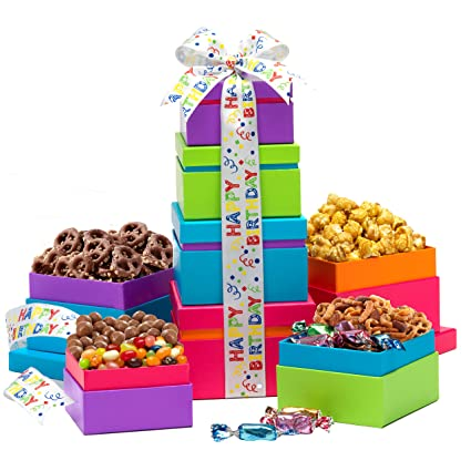 Amazon Broadway Basketeers Gift Tower Happy Birthday Wishes Grocery Gourmet Food