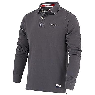 low priced e7e37 cf8ad Stallion Herren Langarm Poloshirt : Golf Sport Stilvolle Slim Fit Polohemd  für Männer (Navy Blau, weinrot, Weiß und Dunkelgrau/S, M, L, XL)