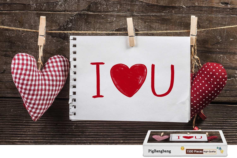 2019高い素材  pigbangbang、ハンドメイドintellectivゲームプレミアム木製DIY接着のJigsaw Nice 22.6 Painting Painting – – I Love You用紙ラブハートClothespins – 1500ピースジグソーパズル(34.4 X 22.6