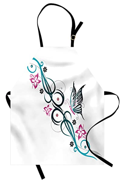 caad8b6ca Lunarable Tattoo Apron, Ombre Blue Tribal Shaped Art Design with Cute  Butterfly and Flowers Image